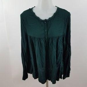 Zara Trafaluc blouse peasant teal blue green L